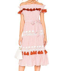 Tularosa Lana Rust Stripe Midi Tassel Dress Medium